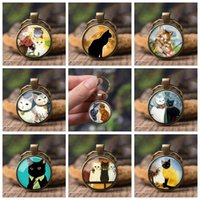 Wholesale cat keyrings resale online - Cat Glowing Eyes Full Moon Photo Keyring Glass Dome Animal Diy Cute Keychain Key Ring Pendant Jewelry Fashion Accessories Gifts