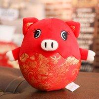 bebek şirketi toptan satış-Yeni Yıl Domuz Maskot Şirketi Yıllık Toplama Hediyeler Şenlikli Zodyak Fu domuz Doll Peluş Oyuncaklar Yaratıcı Moda Basit Ev Dekor
