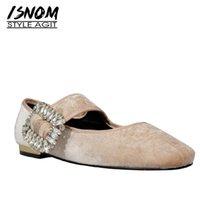 kristal kare tokalar toptan satış-ISNOM Pleuche Flats Kadınlar Kare Ayak Ayakkabı Rahat Kristal Toka Ayakkabı Kadın Mary Jane Kız Ayakkabı Kadın 2019 Bahar Yeni