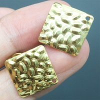 Wholesale square hole stainless steel for sale - Group buy 50pcs Square Stainless Steel Stud Earrings with Hole Gold Tone Earring Post for Women DIY Ear Jewelry Making Findings