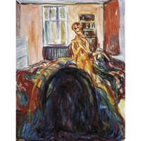 pinturas abstratas retratos venda por atacado-Pintados à mão Edvard Munch pinturas Auto-retrato durante a doença ocular I arte moderna pinturas abstratas decoração da parede