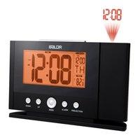 zamanlayıcı için lcd toptan satış-Dikkat Projeksiyon Çalar Saat Dijital Hava LCD Erteleme Çalar Saat Projektör Arka Işık Bell Timer Çalar Saat KKA6913