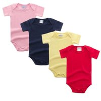 Wholesale boutique rompers for sale - Group buy Baby Clothes Kids Lace Rompers Toddle Ins Solid Jumpsuits Newborn Fashion Boutique Rompers Infant Summer Cotton Bodysuits Climb Cloth E118
