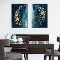 Wholesale canvas grouping paintings for sale - Group buy Nordic minimalist style golden fish group abstract blue oil painting living room bedroom home decoration painting
