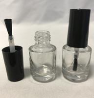 ingrosso bottiglie vuote di smalto per unghie-Bottiglia per smalto vuota in vetro trasparente riutilizzabile da 5 ml per nail art con tappo nero a pennello