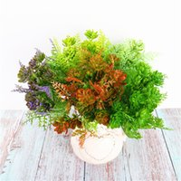 flor de loto nueva al por mayor-2019 Nuevo alto grado 7 Tenedor Spray Color Pearl Lotus Engineering Green Plant Color Plastic Flower Wedding Wedding Decor