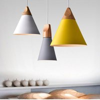 Wholesale pendant lamp kitchen for sale - Group buy New Home Dining Room Pendant Lamps Modern Colorful Restaurant Coffee Bedroom Pendant Lights Iron Real Wood Material