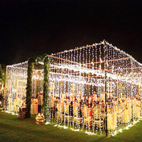 jardinería led al por mayor-3 x 3 m led icicle cortina de hadas luz de la secuencia luz de hadas 300 led luz de Navidad para la boda home garden party decoración