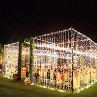 lichter vorhang großhandel-3 x 3m LED Eiszapfen LED Vorhang Lichterkette Lichterkette 300 LED Weihnachtslicht für Hochzeit Hausgarten Party Dekor