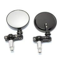 espelho modificado venda por atacado-Motocicleta Modificado Espelho Retrovisor Retro Espelho Universal Guiador Reflectible Modificado Retrovisor