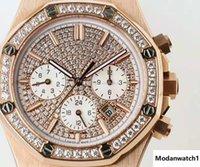 diamante suizo 18k al por mayor-Relojes para hombre de lujo de primeras marcas Movimiento automático suizo 9100 28800 vph 18K Oro rosa 316L Acero inoxidable Diamante Dial Cristal de zafiro