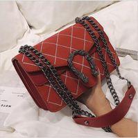 bolso de línea al por mayor-Bordados Line Mujeres onduladas bolsa de diseñador de los bolsos monederos cadena de lujo cabeza de serpiente terciopelo bloqueo bolso clásico