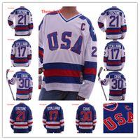 equipo usa hockey jersey blanco al por mayor-1980 Miracle On Ice Team EE. UU. 30 Jim Craig Jersey 17 Jack O'Callahan 21 Mike Eruzione Azul Blanco Camisetas de hockey cosidas