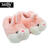 Wholesale cat plush slippers resale online - Millffy lovely pink rabbit plush winter warm velvet slippers comfortable indoor shoes hamster bunny slippers cat plush slippers Y200706
