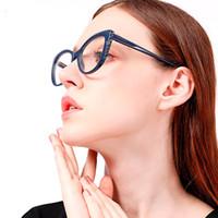 mavi kristal gözlük toptan satış-2019 Yeni Seksi Optik Gözlük Kadın Vintage Gözlük Marka Tasarımcısı Kadın Crystal Clear Cateye Gözlük Stil Mavi Kırmızı Tonları