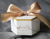 baby shower europa al por mayor-50PCS Nueva Europa de mármol de estilo caja de regalo Baby Shower fiesta de cumpleaños de la caja del caramelo de chocolate dulce Cajas favores de la boda Decoración