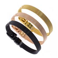 pulseiras de aço inoxidável slides encantadores venda por atacado-50 pcs 100 pcs 8mm pulseira de aço inoxidável pulseira de prata rosa de ouro cor preta pulseira ajuste slides encantos carta homens mulheres presente