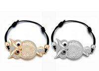 eulenwachs armband groihandel-Europäische und amerikanische Mode Persönlichkeit hohles Eulen Wachs Seil Armband kreatives Tier Live-Schnalle Diamantarmband