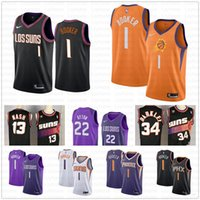 charles barkley basketball al por mayor-Nueva Phoenix Suns Devin 1 Booker Jersey DeAndre 22 Ayton Charles Barkley 34 Steve Nash 13 cosido jerseys del baloncesto vie