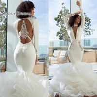 Wholesale beach wedding dresses back ruffle for sale - Group buy 2019 Elegant Arabic Dubai Mermaid Wedding Dresses Sexy Long Deep V Neck Long Sleeves Tiered Organza Open Back Evening Wear Formal Gowns