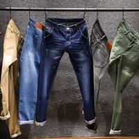 hose männer khaki großhandel-2018 mode frühjahr sommer jeans designer dünne jeans männer straigh herren casual biker denim männlichen stretch hose hose