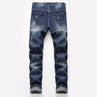jeans de moda urbana venda por atacado-Moda-Mens Designer Jeans Em Linha Reta Grande Buraco Solto Tipo Primavera Verão Novo Estilo Moda Vento Urbano Calças