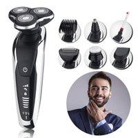 adam için tıraş tıraş toptan satış-Erkekler Şarj Edilebilir Elektrikli Tıraş Makinesi 3 Kesici Kafaları Elektrikli Tıraş Sakal Makinesi Jilet Kuru ve Islak Kullanım Yüzer Blade Siyah