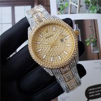 grandes relojes de cuarzo diamante acero inoxidable al por mayor-Rose de oro relojes de diseño de 42 mm Gran Dail para hombre Relojes Negro Oro Disponible Acero Inoxidable Full-diamante del reloj de los relojes de cuarzo Fecha