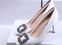 zapatos de novia de tacón alto de diamantes de imitación al por mayor-NUEVA marca de italia Mercerized denim SEDA genuina zapatos de boda de plata Rhinestone Tacones altos zapatos de novia de boda CON