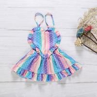 habille petite fille mois achat en gros de-Été New Lovely Little Girl casual dresse Bébé Filles En Forme De Coeur Coloré Sling Dress Enfants Robe Sans Manches Pour 0-24 Mois