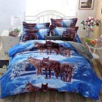 conjuntos de capa de edredão de lobo venda por atacado-3D lobo twin queen size king size colcha capa de edredon fronha quarto conjunto de cama quente