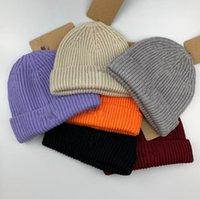 chapéus de inverno venda por atacado-Homens Inverno Beanie Caps Outono Primavera Malha Chapéus