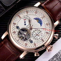 Wholesale leather hand watch for sale - Group buy New Promotion Luxury Watches Men Brown Leather Watch Classic Relogio Masculino Gold Automatic Mechanical Hand winding Watch Tourbillon