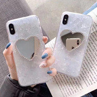 Wholesale rhinestone mirror for phones for sale – best Glossy Marble Phone Case for iPhone X876 Bling Case with Mirror for Samsung Huawei TPU Rhinestone Case for iPhone XSMAX