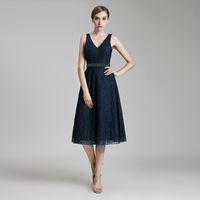 çay uzunluğu lacivert ana elbiseler toptan satış-2019 Vintage Lacivert Dantel Ucuz Çay Boyu Zarif Parti Elbise A-Line Gelinlik Modelleri Kolsuz Boncuklu Kanat anne Gelin Akşam giymek