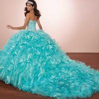 bolero ceket balo elbiseleri toptan satış-Lüks Kristaller Prenses Kabarık Quinceanera Elbiseler Turkuaz Ruffles Vestidos De 15 Masquerade Gelinlik Modelleri Bolero ceket ile 2019