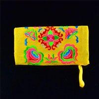 monedero chino vintage al por mayor-Recién 2017 Bolso de estilo chino vintage Bolso de bordado de monedero étnico Bolso de billetera tradicional DOD886