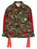 chaqueta militar mujer blanca al por mayor-2019 nuevos OW blancos militares cinta roja de la chaqueta de camuflaje hombres y las mujeres flojas de la chaqueta S-XL