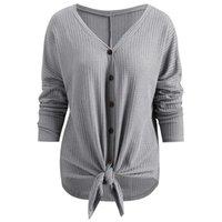 блуза с градиентом цвета оптовых-Падение Плеча V Шеи Блузка