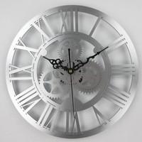 большие механические настенные часы оптовых-European antique gear wall clock vintage mechanical gear clock Large Wall For Art Home Living Room Decoration
