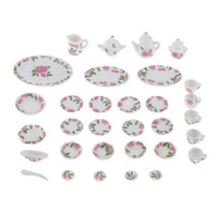 Wholesale ceramic toy set for sale - Group buy 27 Pieces th Dollhouse Ceramic Floral Tableware Tea Coffee Set Kitchen Accessories Kids Pretend Play Toys Styles