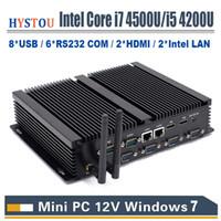 china dual intel achat en gros de-Ordinateur sans ventilateur Mini PC Core i3 4010u Windows 7 10 Core i7 4500U 2 * Intel Lan 6 RS232 COM i5 2 HDMI HD 4k HTPC