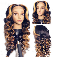 Wholesale brown curly wig highlights for sale - Group buy Highlights color curly Remy Brazilian Full Lace front Human Hair Wigs Pre Plucked Natural Hairline wigs