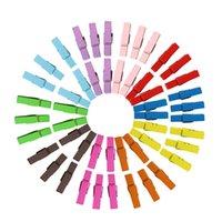 ingrosso fermagli in legno-Mini mollette in legno multicolore Clip per abiti in legno Photo Paper Peg Pin Graft Clips 3.5CM