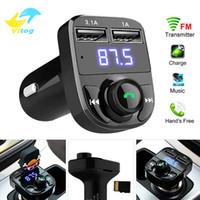 aux usb ses toptan satış-3.1A Hızlı Şarj Çift USB Araç Şarj Vitog FM Verici Aux Modülatör Araç Kiti Bluetooth Araç Ses Alıcısı MP3 Çalar