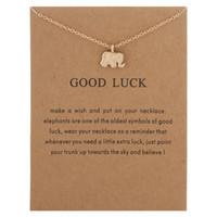 silberner glücklicher elefantenanhänger halskette großhandel-Lucky Elephant SilverGold Farbe Cute Dogeared Halskette Anhänger Halsketten Inspirierende Halskette