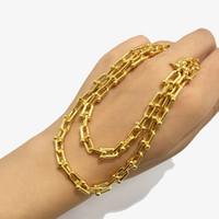 bağlı mücevher toptan satış-Çift Kolye necklaceTop kalite çember lüks U Kalın kolye Kadınlar Marka takı Ücretsiz nakliye bağlamak şekil oymak