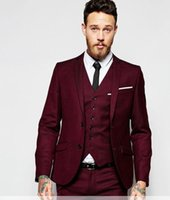 winter brautkleid wolle großhandel-Handsome Groomsmen Wollmischung Bräutigam Smoking Mens Hochzeitskleid Mann Jacke Blazer Prom Dinner 3-tlg. Anzug (Jacke + Hose + Krawatte + Weste) AA144