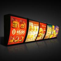 luz del tablero del menú al por mayor-Placa de menú KFC Caja de luz Menú de la tienda de comida rápida Exhibición Montaje en pared con estuche protector de madera (W40 x H50 cm)