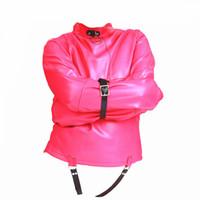 fetiş kısıtlamalar giysiler toptan satış-Sahte Deri BDSM Kölelik Seks Sınırlamalar Kostümleri El Binder Tie Up Fetiş Köle Eğitim Cihazı Oynamak için Cinsel Parti Giyim Oyuncaklar kadınlar